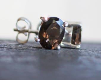 Tawny Mist - Smokey Topaz, Smokey Quartz Drop Sterling Silver Stud Earrings