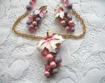 Vintage Park Lane Necklace & Earrings Set ~ Pink and Lavender