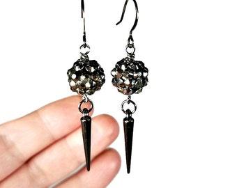 Sparkly Gunmetal Spiked Earrings , Black Dangle Earrings, Spiked Jewelry, Edgy and Cute, Gift for Her