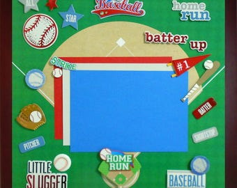 BATTER UP Premade Memory Album Page (Gallery Wood Frame Sold Separately)