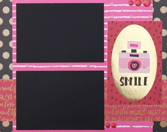 Smile Basic Premade Scrapbook Page 12x12 Layout for Album