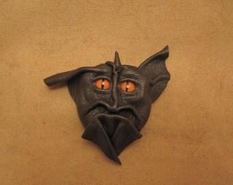 Grichel leather magnet - dark chocolate brown with poppy orange slit pupil reptile eyes