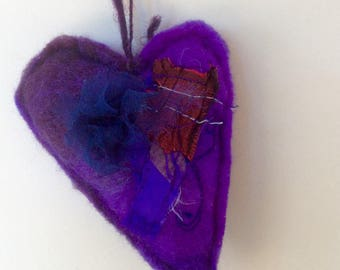 PURPLE FELTED HEART,  Little hand sewn felted heart with fabric