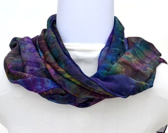 Hand dyed Silk Scarf,  Silk Chiffon Scarf, 54 x 10 inches, Ready to Ship, Made in Australia by SallyAnnesSilks on Etsy S141