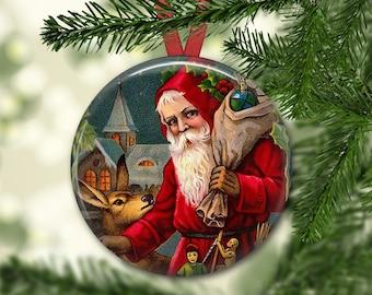 holiday magnet, victorian santa magnet, christmas decoration, kitchen decor, large magnet, oversize magnet  MA-1319