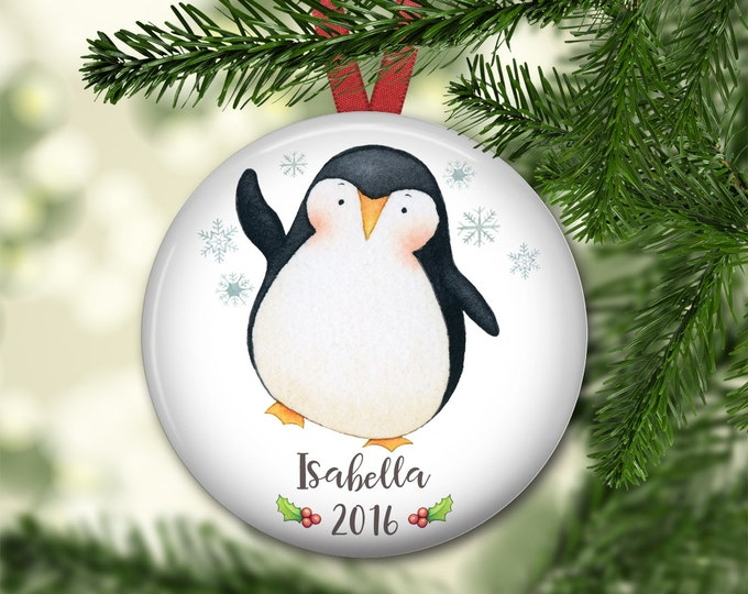 penguin Christmas ornaments - personalized Christmas ornaments for baby - baby's first christmas ornament - ornaments for kids - ORN-PERS-5