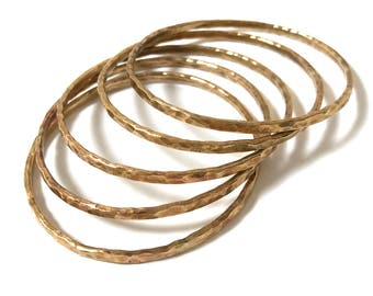 Handmade brass stacked bangles (set of five)