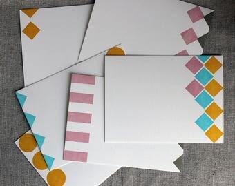 Set of 10 Letterpressed Urban Geometry Flat Cards
