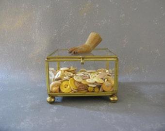 Vintage Brass and Glass Display Box, trinket box, Shadow box, square