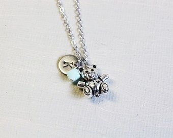 Tiny Teddy Bear Necklace. personalized initial birthstone silver teddy bear necklace