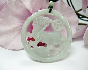 Jade Chinese Unicorn/ Qilin/ Kirin 麒麟献宝 Good Luck Charm Necklace