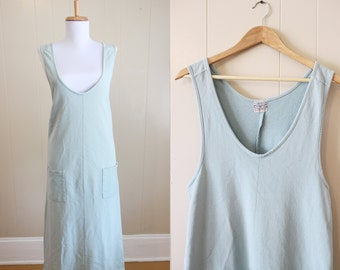 Vintage Maxi Dress 90s Grunge Aqua Blue Loose Jumper Medium Large