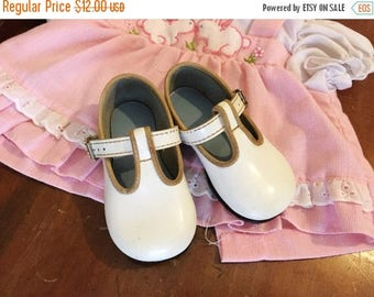 30% OFF SALE Vintage Baby Shoes White Buckles Walkers Altered Art Sz 3