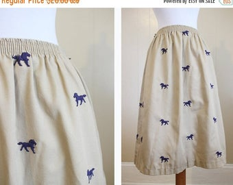 30% OFF SALE Preppy Embroidered Skirt Vintage Horses Khaki Navy Blue Small
