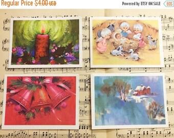 30% OFF SALE Vintage Christmas Postcards Set of Four Nativity Holiday Unused Illustration Art