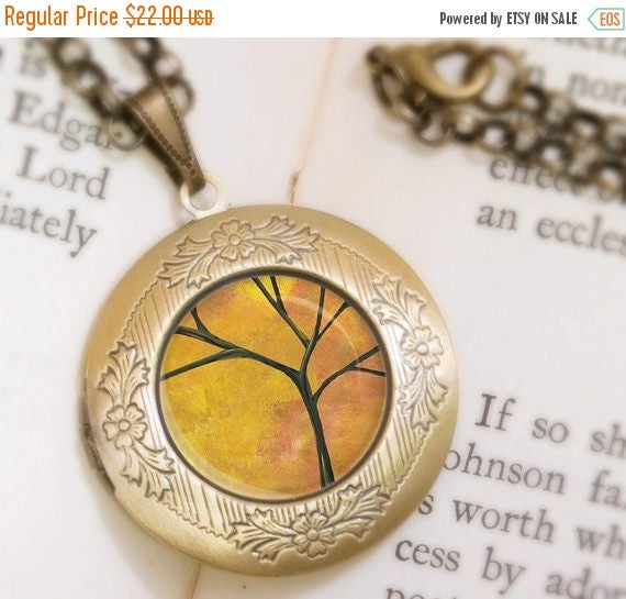 Mothers Day Sale Autumn Tree Locket - Bronze Necklace - Autumn Days - Wearable Art with Bronze Chain