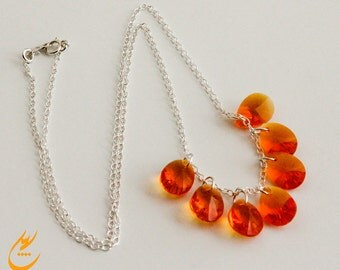 Tangerine Pear-shaped Swarovski Crystal Necklace, Sterling Silver Chain Necklace, Tear drop Orange Swarovski Crystal Necklace, designbybehin