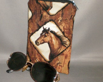 Eyeglass or Sunglasses Case - Zipper Top - Padded Zippered Pouch - Horses