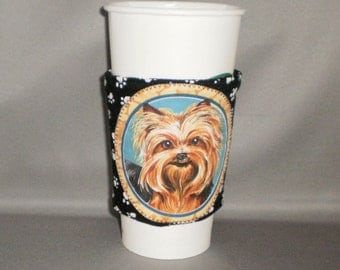 Coffee Cozy - Yorkie - Coffee Cuff -  Coffee Sleeve - Reuseable Fabric Cozy - Eco Friendly - Dog - Paw Prints