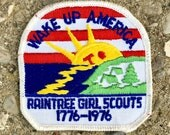 Vintage 1976 Girl Scouts Patch - Wake Up America
