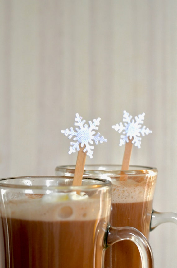 Glitter Snowflake Drink Stirrers - 12 or 50 swizzle sticks for hot or cold drinks