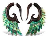 Fake Gauges, Gypsy, Fake Plugs, Handmade Earrings, Tribal Style -  Nava Wings Wood with Abalone