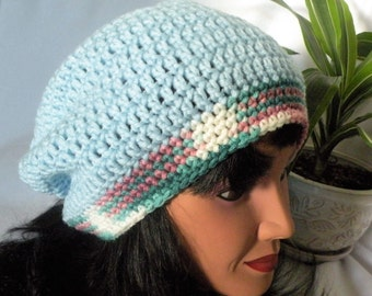Slouch Hat, Beanie, Crocheted Hat, Adult Size