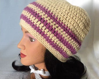 Adult Slouch Hat, Crocheted, Cream and Lilac, Striped Hat