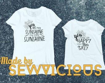 My sunshine Mommy and Me tee Shirt Set