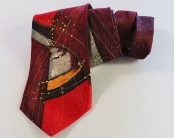 Robert Daskal Tie. Mens Art Tie. Hand Painted Tie. Rare Necktie. Modern Abstract. Red Purple Tie. Vintage Tie. Mens Dress Tie. GOGOVINTAGE