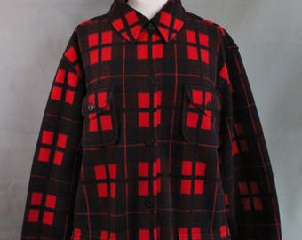 Vintage 90s Womens Black Red Plaid Fleece Hunting Jacket, Outdoor Jacket, Rustic, Camping Jacket, Grunge, Size Large Plus