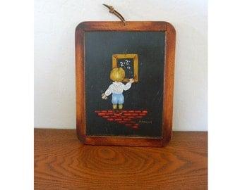 "Original Oil Painting on Chalkboard Plaque - ""School Days"" - Artist Annette Kittle"