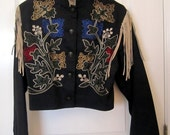 "VTG.  "" Southwest Canyon"" USA Western Denim Unlined  Black Jacket with Flower design and Shoulder Leather FringeTrim   Size Medium"