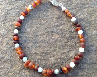 Raw shined Baltic Amber and Amazonite bracelet - grounding - natural pain relief