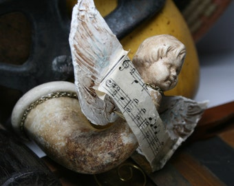 Angel Child - Assemblage Art Ornament or Home Decor - Clay Pipe