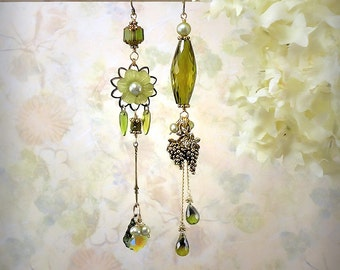 OOAK Vineyard Fantasy Olive Green Earrings Green Asymmetrical Earrings Ethereal Green Earrings Grapes Vineyard Wedding Apple Green Earrings