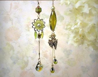 Vineyard Fantasy Asymmetrical Earrings OOAK Olive Green Cubic Zirconia CZ Earrings Grapes Ethereal Flowers Apple Green Teardrop Earrings