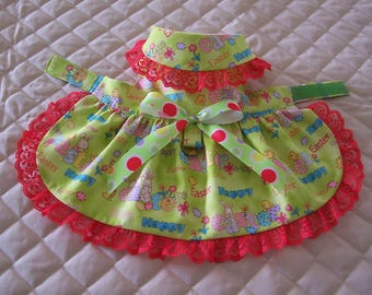 Lovely XS-S Green Easter Bunnies Chicks Dog Dress Lace Bow Pets Clothes Handmade