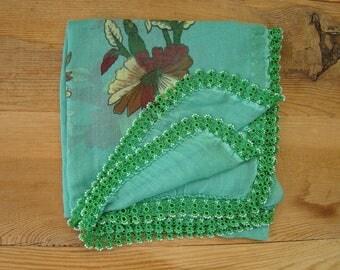 green turkish scarf with crochet trim, vintage,ncotton