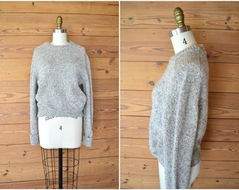 1980s wool fishermans sweater / winter proof cream and gray bulky sweater / medium large