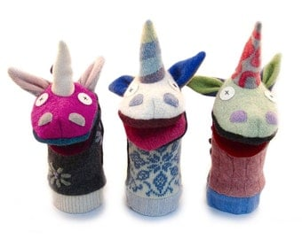 Gifts for kids and babies etsy unicorn hand puppet premium reclaimed wool cate and levi handmade colors will negle Gallery