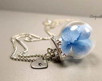 Personalized Necklace - Genuine Hydrangeas with a personal heart, Initial Necklace