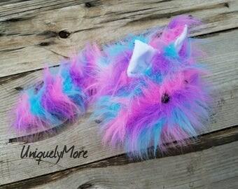 Stuffed Rainbow Kitty,Cute Stuffie,Kitty Stuffed Animal,Fuzzy Plush Toy,Stuffed Animal,Cute Plush Toy,Faux Fur Kitty,Kawaii Plushie
