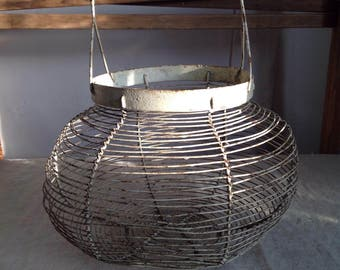 Vintage egg basket, French antiques home decor, Rustic farmhouse kitchen, French Home Decor