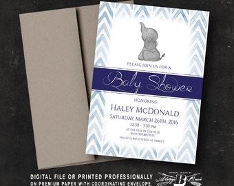 Elephant Baby Shower Invitation | Shower Invites | Printed Invitation or Printable Digital File |  Navy Blue Chevron Baby Shower Invitation