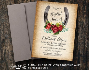 Country Bridal Shower Invitation | Rustic Western | Printed Invitation | Printable Digital File | Horseshoe Burlap Red Roses Floral Cowgirl