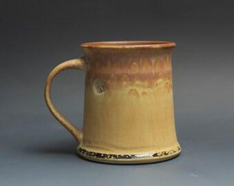 Handmade pottery coffee mug tea cup 16 oz, yellow amber tea cup 3738