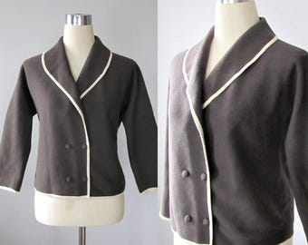 Vintage 1960's Brown Virgin Wool Jacket / Woman's Mid-Length Chocolate Brown Designer GIBI Rome Jacket Coat Size M/L Made in Italy