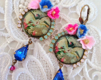 earrings  resin cabochon swallows in nests,  crystal and velvet flowers