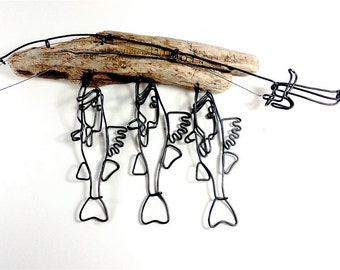 Walleye Stringer and Fishing Rod Wire Sculpture, Walleye Wire Art, Minimal Wire Sculpture, 489124433